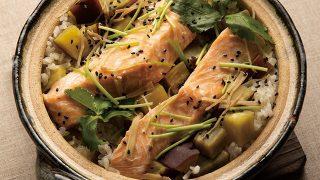 鮭とさつまいもの炊き込みご飯